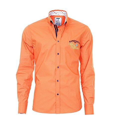 Pontto Hemd Herrenhemd Red Line Collection orange S