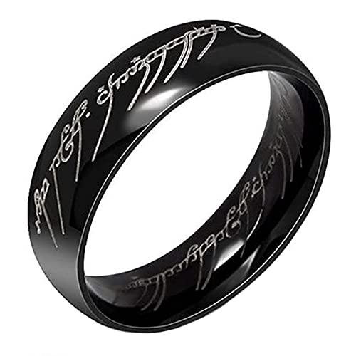 Bague acier inoxydable noir avec la gravure seigneur des anneaux (57)