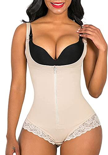 SHAPERX Women s Body Shaper Fajas Colombianas Slimming Firm Control Bodysuit Open Bust Shapewear Seamless Slimmer, UK-DT7200-Beige-L