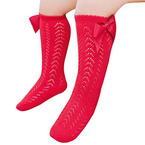 WangsCanis 0-3 años recién nacido con calcetines de algodón de red con lazo de algodón puro estilo princesa lindo rojo 1-2 años