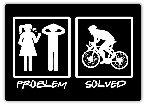Tin Signs Vintage Retro Wall Retro Metal Bar Pub 12x16,Problem Solved Cycling Art Downhill Road Green Wife,Touring Motorcycle Off-Road Mountain Bikes Novelty Garage Tin Sign