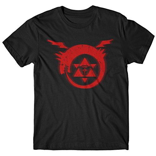 LaMAGLIERIA Herren-T-Shirt Full Metal Alchemist - t-Shirt Manga 100% Baumwolle, XL, Schwarz