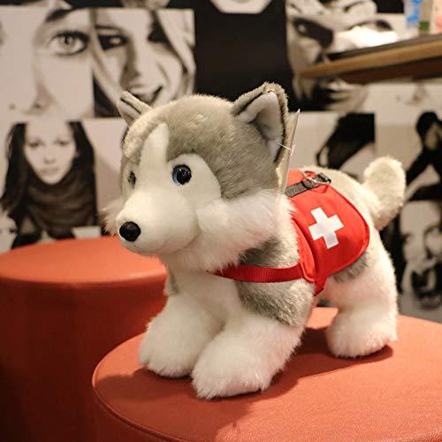 stogiit Krankenwagenhund Alaskischer Hund Husky Jobsuche Und Rettung HundepuppePlüschtier Puppe Puppe Krankenwagenhund12 Zoll/Ca. 48 cm Lang (Einschließlich Schwanz) Stehend Ca. 24 cm Hoch