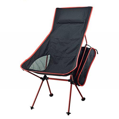 Fashion barra Tragbar Faltbar Campingstuhl, Draußen Verlängert Klein Freizeit Sessel Strandkorb mit Tragetasche für Wandern, Reise, Jagd, Angeln (Rot)