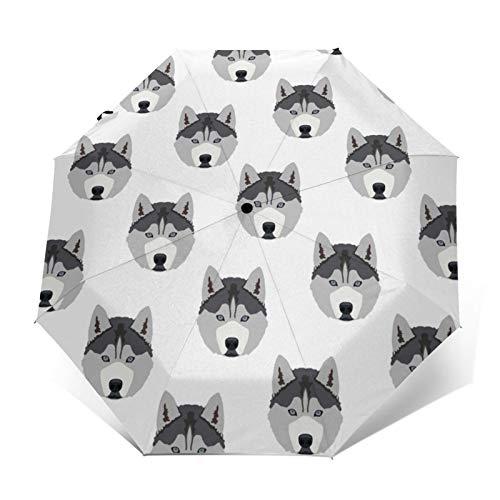 Husky Dog – Paraguas automático triple plegable, impermeable, resistente al viento, duradero
