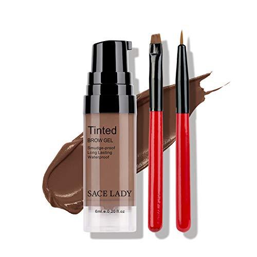 Long Lasting Eyebrow Gel with Eyebrow Brushes for Waterproof Eyebrow Makeup, Eyebrow Tint Corrector Kit, Intense Brow Color Pomade Cream, 6ml/0.20Fl Oz, light Brown