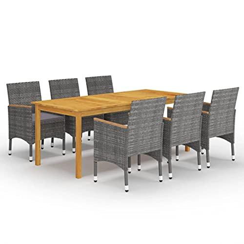 vidaXL Gartenmöbel Set 7-TLG. Gartengarnitur Sitzgruppe Sitzgarnitur Tisch Stühle Esstisch Gartentisch Sessel Gartenstuhl Gartenset Grau