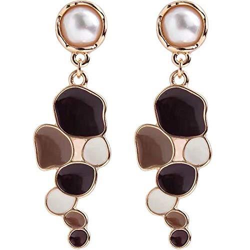 Pendientes bohemios para mujer de 5 cm de aleación marrón con esmalte de goteo geométrico, patrón de empalme de gota bohemio, pendientes para mujer, 5CM, Zinc,