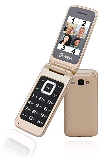 OLYMPIA Luna Gold Mobiltelefon für Senioren; Altersgerechtes Klapphandy mit Tasten