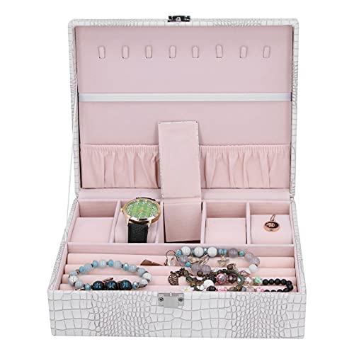 Joyero, Vitrina de Cuero de PU con Cierre de Metal Gran Capacidad para almacenar Relojes con Diferentes tamaños Regalo Ideal para cumpleaños