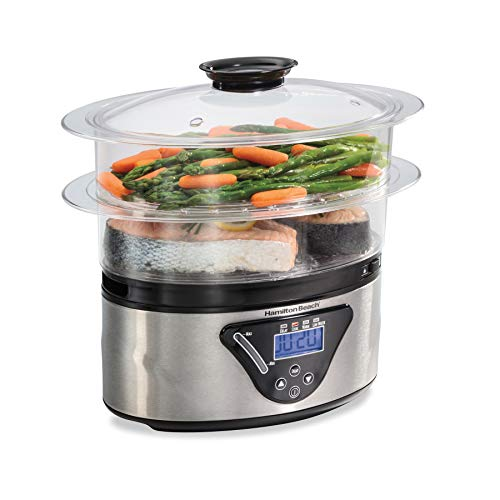 Hamilton Beach Digital Food Steamer for Quick Healthy Cooking with Stackable TwoTier Bowls for Vegetables and Seafood plus Rice Basket 55 Quart Black amp Stainless Steel