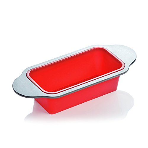 """Meatloaf and Bread Pan   Gourmet Non-Stick Silicone Loaf Pan by Boxiki Kitchen   for Baking Banana Bread, Meat Loaf, Pound Cake   8.5"""" BPA-free Silicone, Steel Frame + Handles"""
