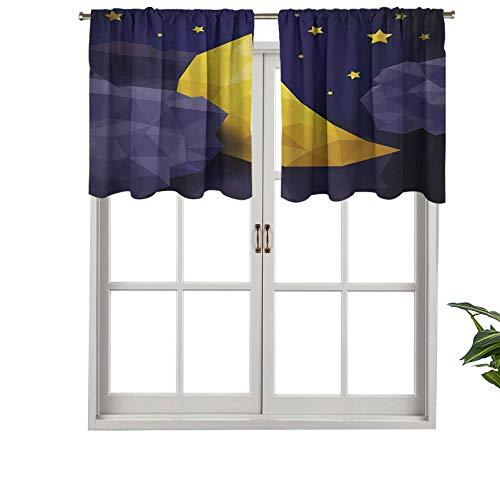 Hiiiman Cenefa opaca de alta calidad con efecto triangular, diseño de cielo nocturno con estrellas de luna nueva, juego de 1, 106,7 x 45,7 cm, paneles opacos decorativos para el dormitorio