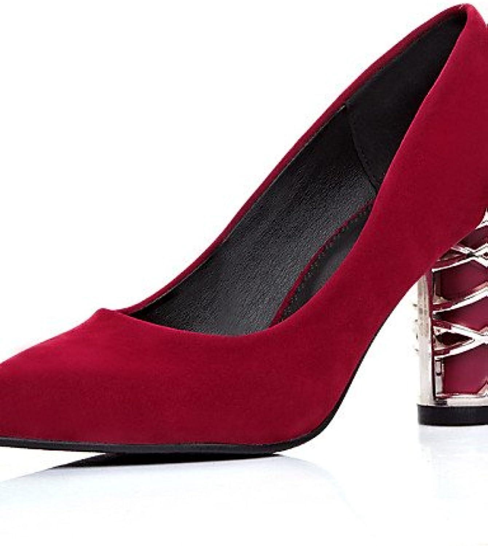 BGYHU GGX Damen Schuhe Fleece Sommer spitz Toe Toe Toe Heels Office & Karriere Casual geschoben Ferse andere schwarz blau rot  7e84da