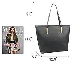 Simple Solid Color Pu Leather Top Handle Satchel Handbags for Women Shoulder Bags (Black)