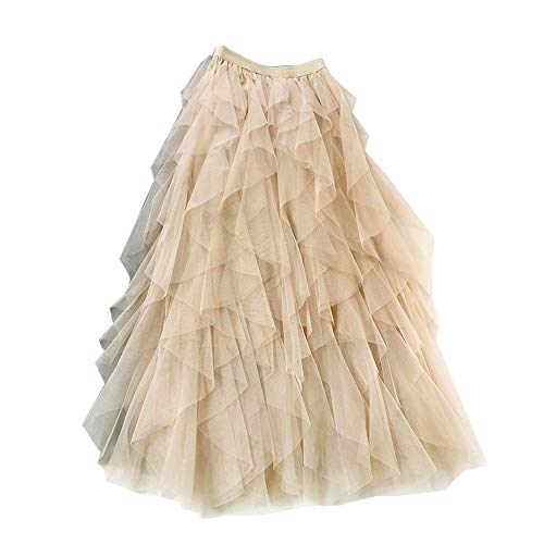 Falda Larga De Tul Fiesta De Tutú para Mujer Plisadas Faldas Cintura Elástica Albaricoque Un tamaño