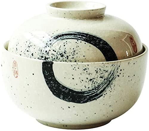 ZRB Juego de Platos, Tazón de Sopa Estilo japonés Cerámica Ramen Tazón con Tapa Home Retro Fruta Ensalada Sopa Sopa Cuenco Cubiertos Creativos