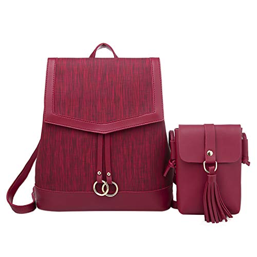 Women's Backpack, COOFIT Small Backpack PU Leather Backpack Elegant Cowboy Style Shoulder Bag Girls School Bag Tassels with Purse for Uni, Office, Usual