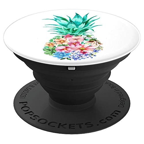Colorful Floral Watercolor Pineapple Pop Socket PopSockets Grip and Stand for Phones and Tablets