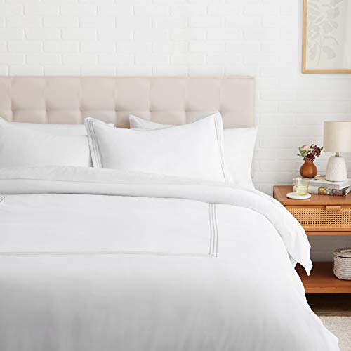 Amazon Basics Embroidered Hotel Stitch Duvet Cover Set - Soft, Easy-Wash Microfiber - Full/Queen, White with Light Grey Embroidery