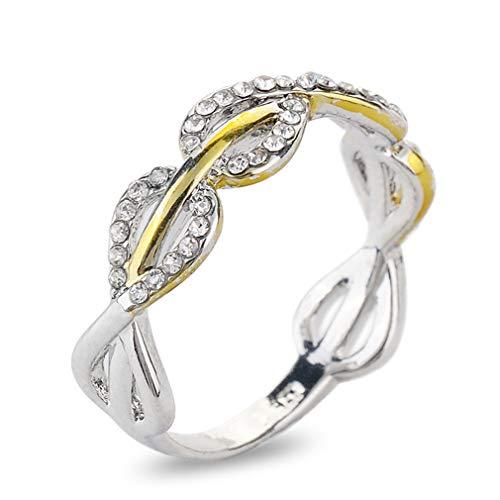 Yesiidor Two Tone Twisted Ring Künstliche Strass Kabel Mode Shiny Ring für Frauen, 7
