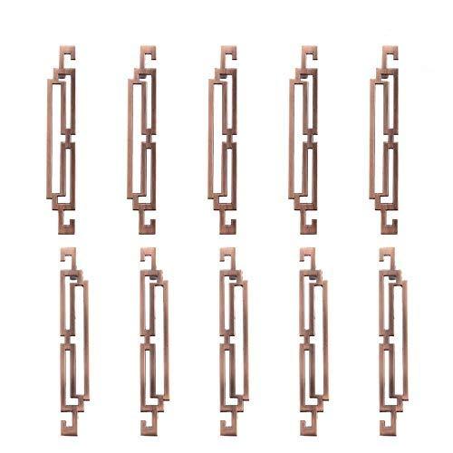 Juego de 10 tiradores para puerta de armario, estilo vintage, estilo retro, para cocina, aparador, cajón, armario, armario, tiradores de puerta, tiradores para muebles, 128 mm, color rojo y bronce