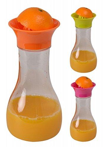 Karaffe mit Zitruspresse und Deckel - Entsafter - Saftpresse - Orangenpresse - Zitronenpresse - Wasserkaraffe - Kanne, Farbe:Orange