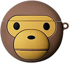 Ultra Thick Soft Silicone Ape Case with Hook Clip for Apple Airpods 1 2 3D Cartoon Brown Monkey Luxury Designer High Fashion Stylish Fun Cute Lovely Men Boys Son Girls Daughter
