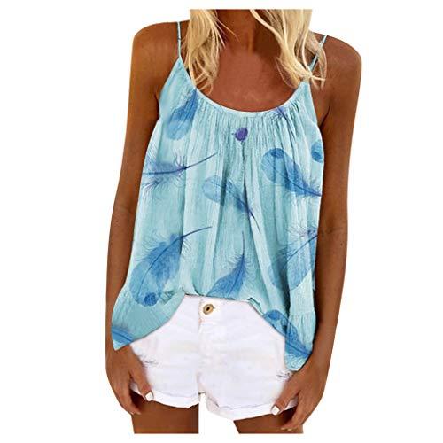 UOFOCO Women's Boho Floral Feather Printed Spaghetti Straps Tank Tops Summer Crewneck Sleeveless Shirts Blouse (5X-Large,Blue)