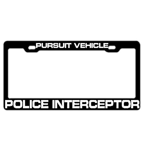 Pursuit Vehicle Police Interceptor Black License Plate Frame, Christian Car Tag Frame for Both Front and Back License Tag Stainless Steel Metal License Plate Holder 2 Hole and Screws