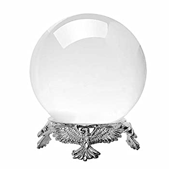 Amlong Crystal Small Clear Crystal Ball 50mm  2 inch  Diameter with Silver Eagle Stand