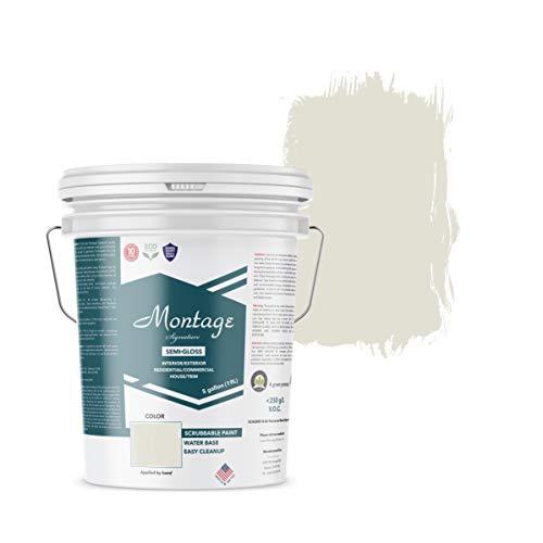 Montage Signature Interior/Exterior Eco-Friendly Paint, Snow White, Semi Gloss, 5 Gallon