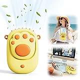 EASTLION Ventilador de Cuello Portátil,Mini Ventilador de Mano USB ,Ventilador de Escritorio Recargable de 3 Velocidades para el Oficina, Hogar, Viajes, Exterior(Amarillo)