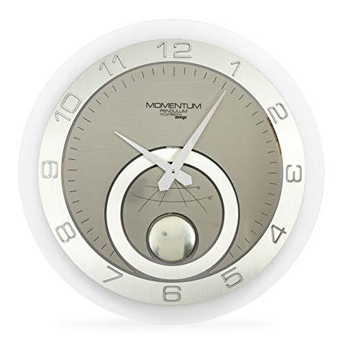 Incantesimo Wandklok, Momentum Pendolo, hoge dichtheid en zuiverheid Icing Methacrylaat, Grijs/Zilver, 45 x 45 x 3 cm