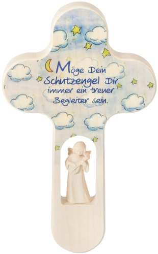 Croix en bois 20 x 12 cm avec trou + ange : Motif nuages avec étoiles et lune