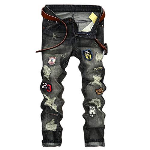 Denim de los Hombres Personalidad Insignia Decoración Viejo Delgado Recto Agujero Recto Gran tamaño Color sólido Pantalones de Mezclilla para Hombres