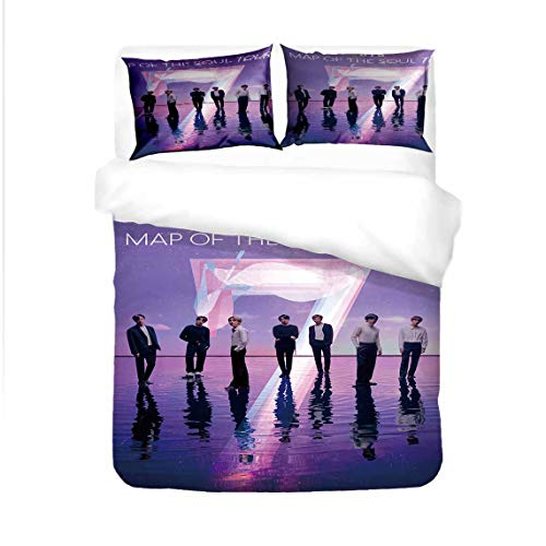 GD-SJK Bulletproof Boy Scouts Bedding Sets Consisting of Flat Sheet Duvet Cover and Pillowcase Teenagers Single Bed For Fans of Jin Jimin V Jungkook Suga, BTS (A06, 135 x 200 cm - 2pcs)