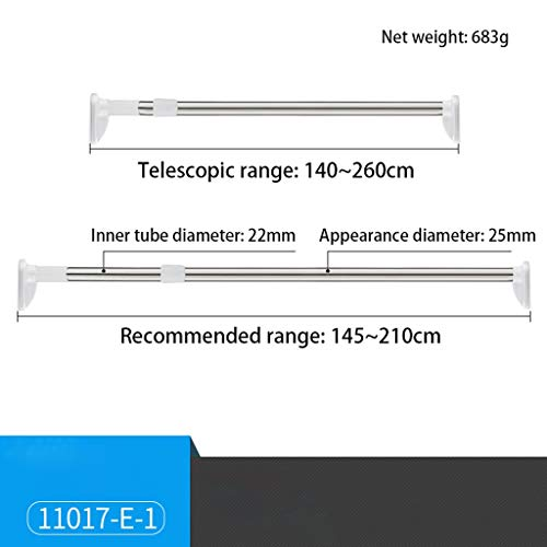 Telescopic Rod, Punch-free, Stainless Steel, Silver, Various Sizes, Installation Of Clothes Rail, Bathroom, Shower Curtain Rod, Curtain Rod, Bedroom, Wardrobe, Kitchen, Balcony ( Size : 140~260cm )