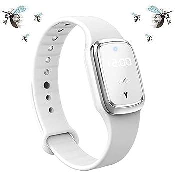 Bracelet épulsif Anti-moustiques Ultrasonique, BraceletAnti-Insectes Intelligent, Montre Bracelet Electronique Anti-Moustique avec Charge USB/Etanche/Réutilisable, pour Enfants et Adultes (Blanc)