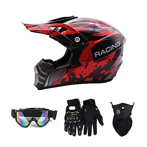 Motocross Helmet, Unisex Adult Full Face Protective Helmet for Motorcycle Dirt Bike ATV, DOT Certified, 4 Pcs Set (Goggles, Gloves, Face Shield),Red Black,M