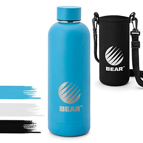 BEAR® Edelstahl Trinkflasche (500ml) in Blau | auslaufsichere doppelwandige Thermosflasche | BPA frei, Vakuum isolierte Wasserflasche, Thermoskanne, Sportflasche inkl. Tragetasche