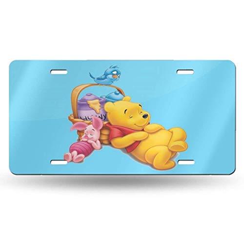 Suzanne Betty Placas de aluminio – Caricatura Winnie The Pooh placa de matrícula accesorios de coche 30,5 x 15,2 cm