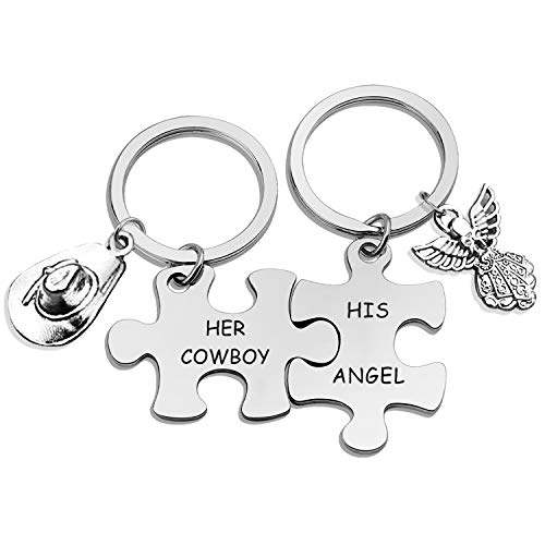 Eigso Valentine's Day Couple Keychain Gift for Lover his and Hers Keychain Set Couples Keyring Puzzle Piece Keychain Couples his and Hers Keychain - HER Cowboy & HIS Angel (Cowboy/Angel KR)