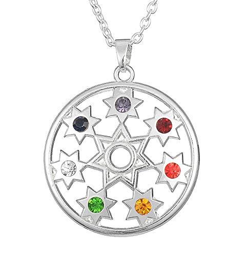 Cooltime - Collar con colgante de mandala, 7 piedras de chakras, siete puntas, joyería hindú para mujer