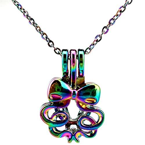 Color Del Arco Iris Nudo De Encaje Cinta De Cuentas Colgante De Jaula Caja Pequeña Collar Aromaterapia Aceite Esencial Difusor Colgante Accesorios Joyería
