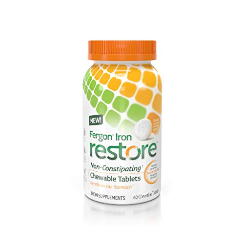 Fergon Iron Restore Chewable Tablets | 60 Tablets | 20mg of Iron, 111% RDV | AVA Certified | Vegan | Gentle Iron Supplement | Can Take on Empty Stomach | No Metallic Aftertaste | Replenish Iron Levels