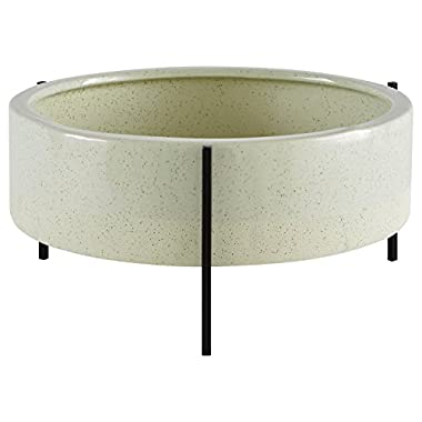 Rivet Mid-Century Ceramic Planter with Iron Stand 6.75  H, Green