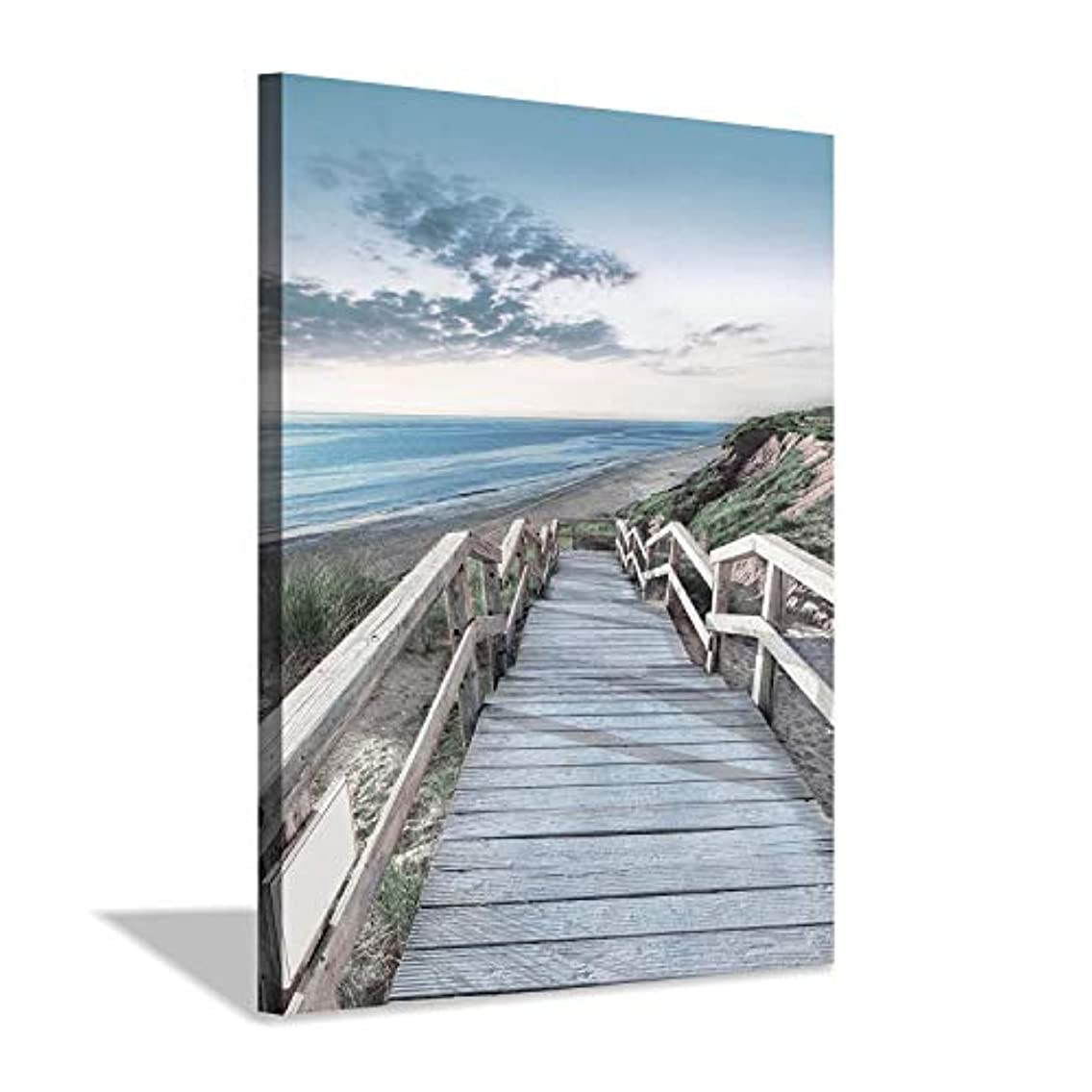 Beachside Wooden Path Wall Art: Bridge Boardwalk Stair Graphic Art on Wrapped Canvas for Wall Decor (12''x16'')
