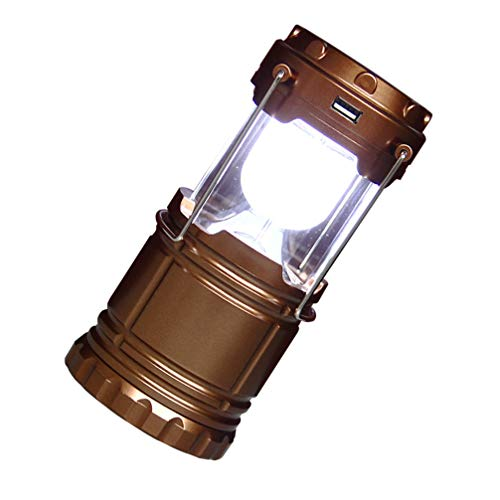SOLUSTRE Linterna de Acampada Linternas de Supervivencia Portátiles Solares Hurricane Emergency Storms Apagones Plegable Lámpara de Camping Recargable sin Batería de Oro