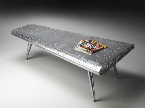 Butler Specialty Company Midway Aviator Living Room Coffee Cocktail Table - Silver/Gray